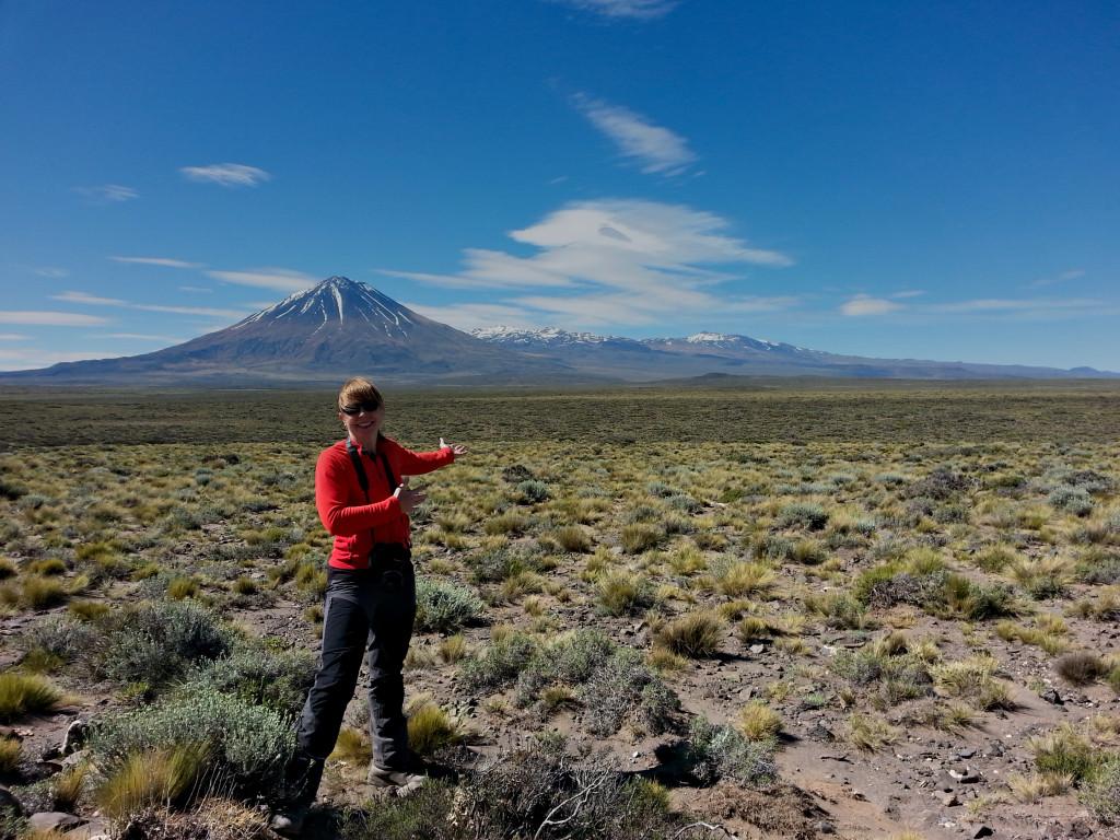 Steffi Burchardt, docent och lektor i strukturgeologi vid Uppsala universitet, framför vulkanen Payun i Argentinia. Foto: Karin Mair