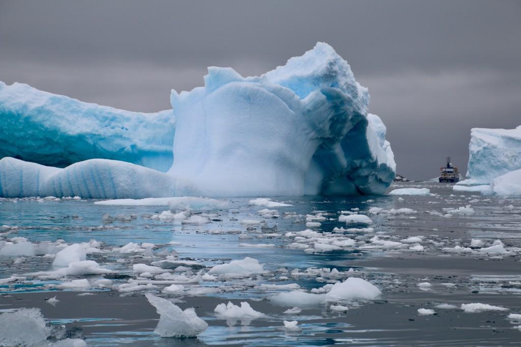 En isbrytare åker förbi isberg i Artkis